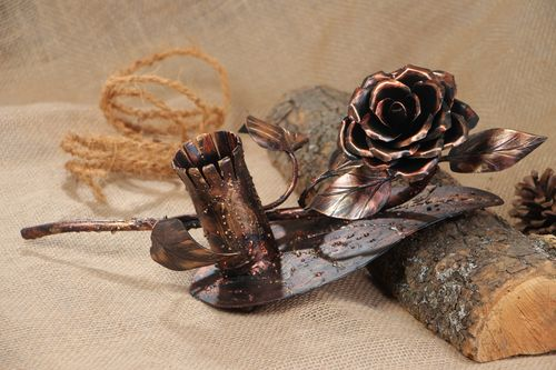 Unusual handmade forged iron flower with holder - MADEheart.com