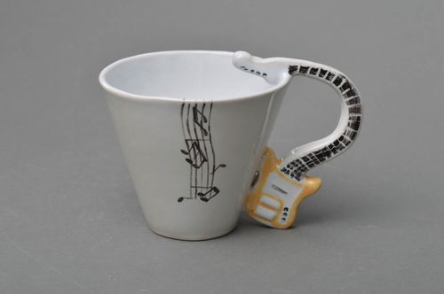 Unusual white handmade designer porcelain cup with guitar handle - MADEheart.com