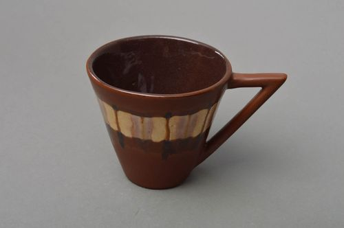 Unusual beautiful cute handmade brown porcelain cup painted with glaze - MADEheart.com
