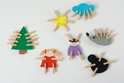 Set of bright handmade educational toys sewn of felt with clothes pins 7 items - MADEheart.com