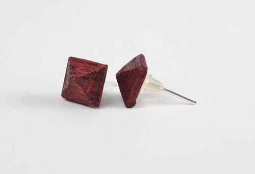 Handmade laconic small stylish painted wooden stud earrings for women - MADEheart.com