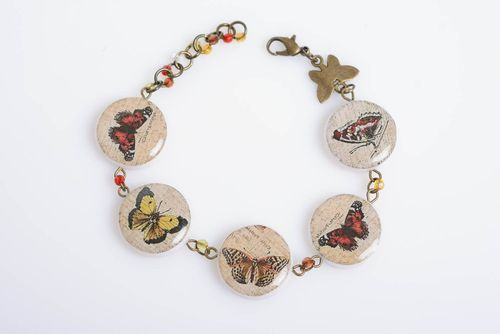 Polymer clay bracelet bright butterfly with decoupage and chain designer jewelry - MADEheart.com