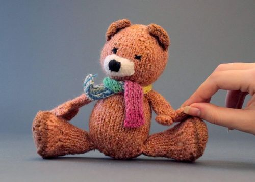 Soft toy Bear with a funny scarf - MADEheart.com