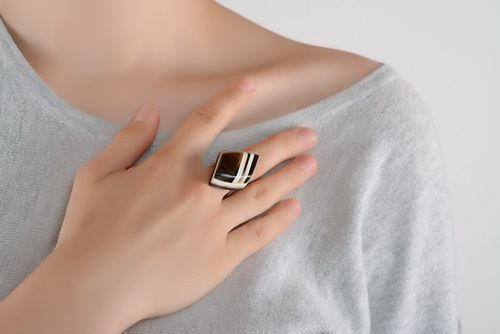 Silver ring with horn - MADEheart.com