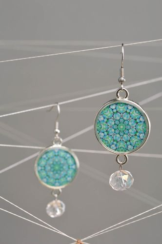 Small handmade decoupage round earrings with patterns - MADEheart.com