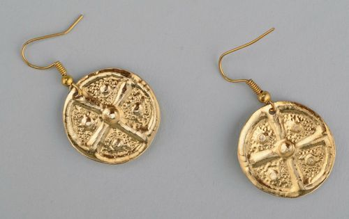 Brass earrings with gilding Earth & Sun - MADEheart.com