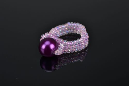 Womens beaded ring Lilac Pearl - MADEheart.com