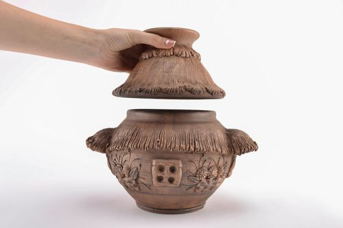 Clay pot with lid - MADEheart.com