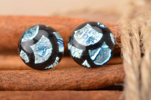 Handmade small round stud dichroic glass earrings black and blue Fish Scale - MADEheart.com