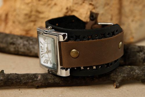 Beautiful handmade leather bracelet watch bands leather goods handmade gifts - MADEheart.com