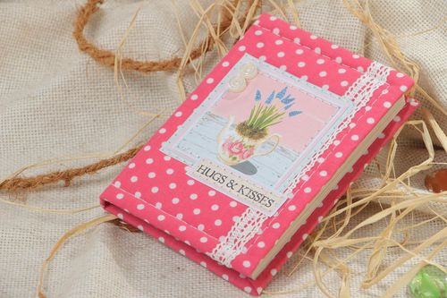 Handmade notebook with soft cover of pink color with white polka dot pattern and lace - MADEheart.com