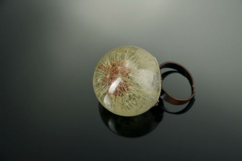 Ring made of dandelion and epoxy - MADEheart.com