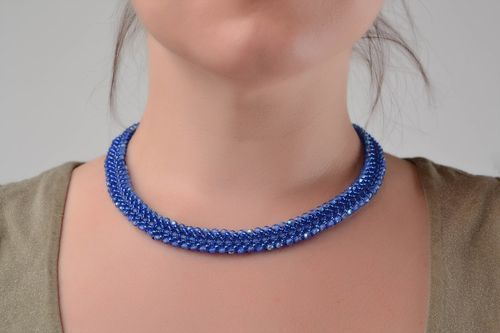 Handmade designer thin beautiful blue unusual cord necklace made of Czech beads - MADEheart.com