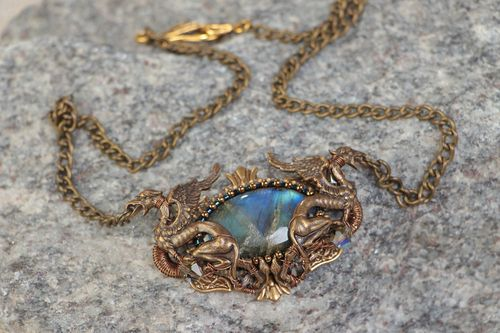 Handmade metal pendant necklace with labradorite stone on chain in elven style - MADEheart.com