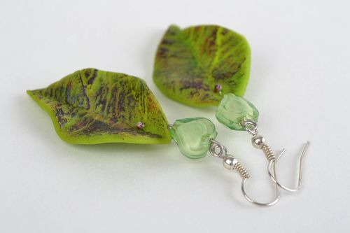 Large handmade green polymer clay earrings in the shape of leaves - MADEheart.com