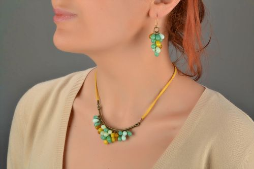 Beautiful womens handmade designer suede cord necklace with Czech glass beads - MADEheart.com