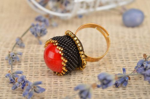 Unusual handmade seed beads ring beaded ring for women accessories for girls - MADEheart.com