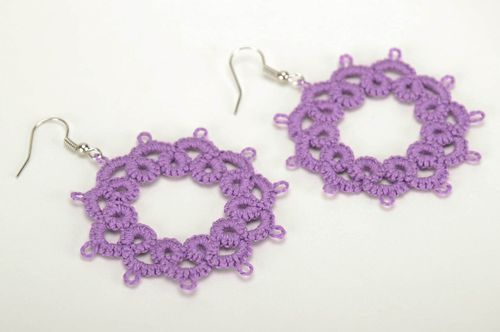 Earrings made from woven lace Lilac Star - MADEheart.com