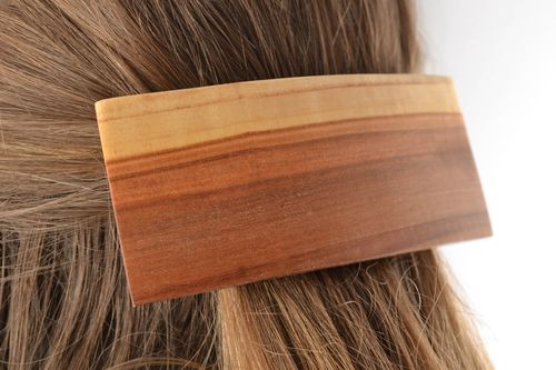 Unusual hair jewelry eco friendly beautiful wooden barrette handmade hair accessories - MADEheart.com