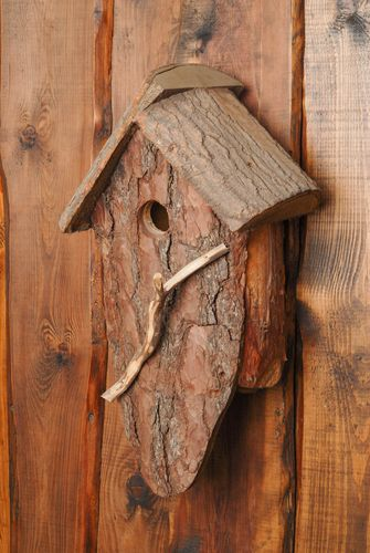 Unusual bark nest box - MADEheart.com