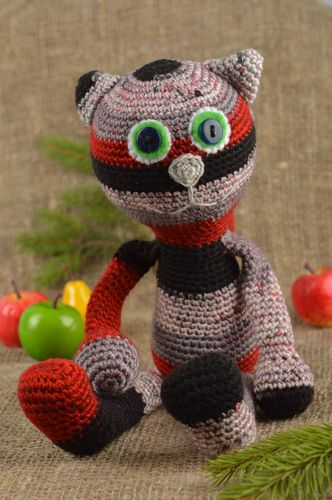Crocheted red cat toy handmade cotton cat toy kids soft toy crochet small toy    - MADEheart.com