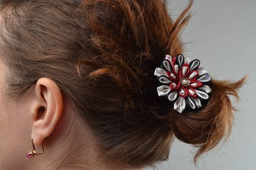 Unusual beautiful handmade designer hairpin with satin ribbon flower - MADEheart.com