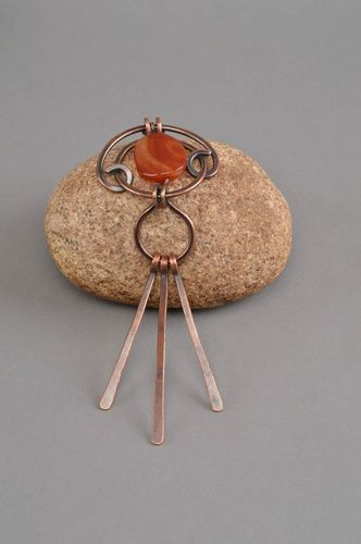Handmade jewelry copper pendant accessory with carnelian gift ideas for girls - MADEheart.com