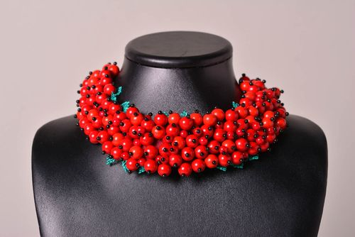 Handmade soutache necklace red soutache necklace beaded jewelry women gifts  - MADEheart.com
