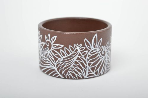Brown painted bracelet handmade wrist bracelet wooden accessories women jewelry  - MADEheart.com