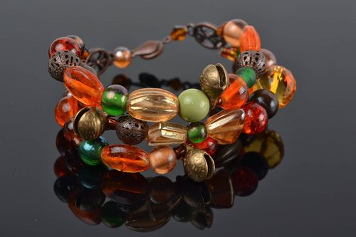 Handmade colorful multi row wrist bracelet with glass and wooden beads - MADEheart.com