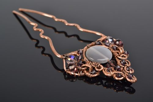 Handmade vintage wire wrap copper hair pin with natural cats eye and crystal  - MADEheart.com