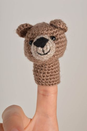 Handmade crocheted finger toy soft toy present for kid baby toy soft bear toy  - MADEheart.com