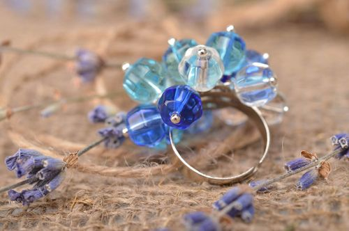 Unusual handmade glass bead ring beaded ring for girls fashion jewelry trends - MADEheart.com