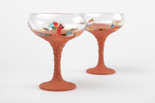 Handmade champagne stemware designer decorative glass celebration accessory - MADEheart.com