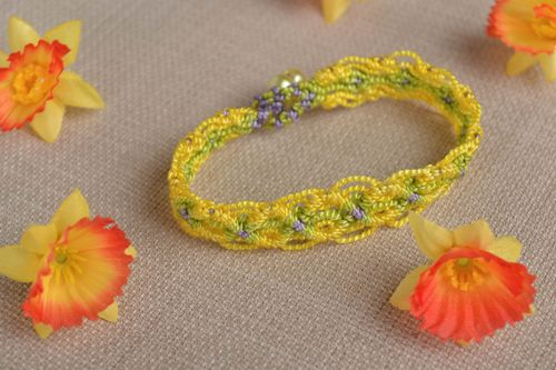 Beautiful handmade woven thread bracelet textile wrist bracelet gifts for her - MADEheart.com