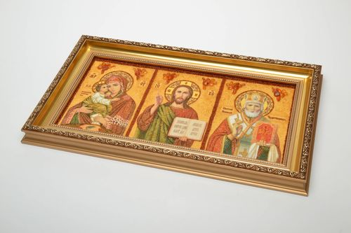Orthodox amber decorated icon - MADEheart.com