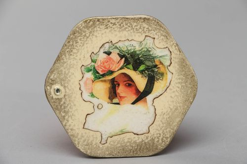 Pocket mirror with decoupage wooden frame Girl - MADEheart.com