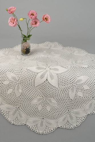 Openwork knitted tablecloth handmade lace napkin vintage style interior decor - MADEheart.com