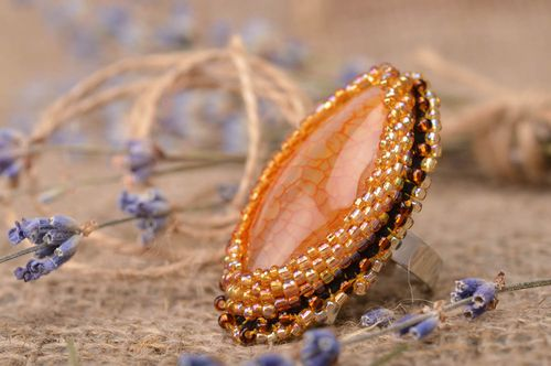 Handmade beaded ring gemstone ring with agate jewelry designer gifts for her - MADEheart.com