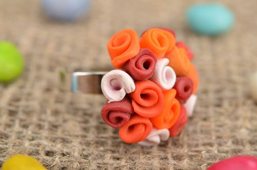 Handmade unusual ring made of polymer clay in form of bouquet of orange roses - MADEheart.com