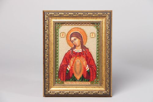 Bead embroidered icon in plastic frame - MADEheart.com