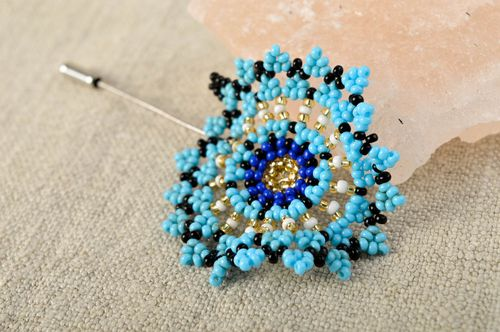 Beautiful handmade beaded brooch pin flower brooch jewelry beadwork ideas - MADEheart.com