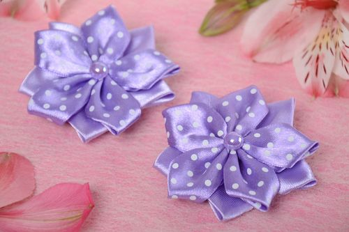 Set of handmade violet textile flower barrettes for children 2 pieces - MADEheart.com