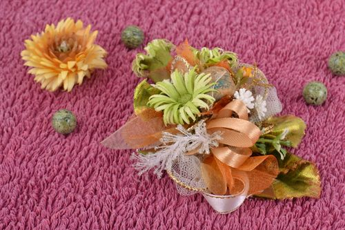 Handmade artificial flowers for DIY brooch or hair clip in pastel color shades - MADEheart.com