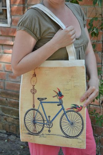 Handmade womens fabric shoulder bag with designer pattern bicycle and parrots - MADEheart.com