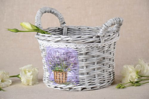 Handmade decorative basket beautiful unusual home decor stylish basket - MADEheart.com