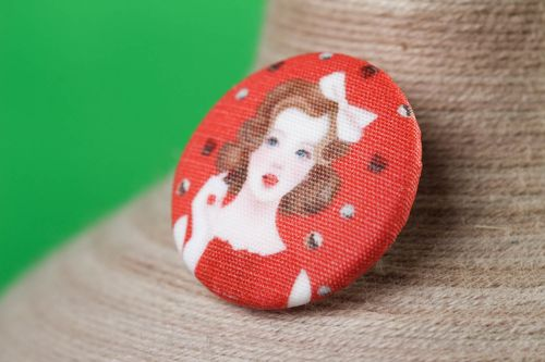 Red handmade plastic button printed fabric button needlework accessories - MADEheart.com