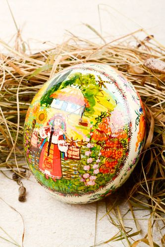 Handmade cute Easter souvenir stylish big ostrich egg decorative use only - MADEheart.com