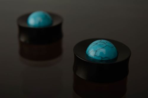 Hard rubber ear plugs with turquoise  - MADEheart.com