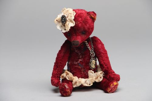 Vintage toy bear in skirt - MADEheart.com